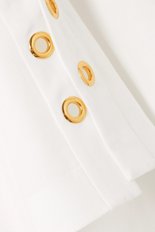 Alexander McQueen One-shoulder eyelet-embellished ruffled linen-poplin gown