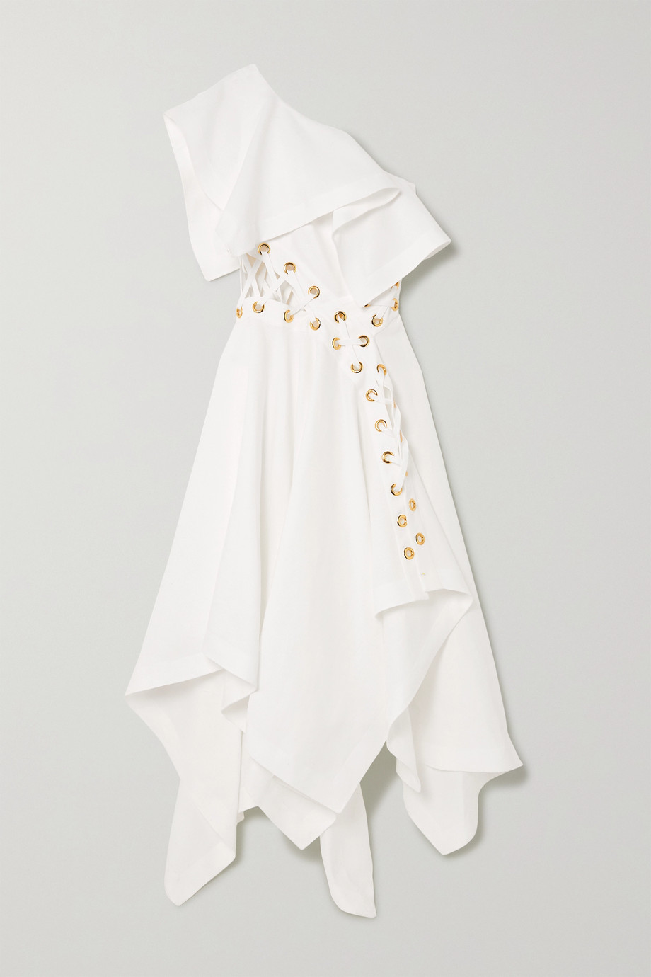 알렉산더 맥퀸 Alexander McQueen One-shoulder eyelet-embellished ruffled linen-poplin gown,White