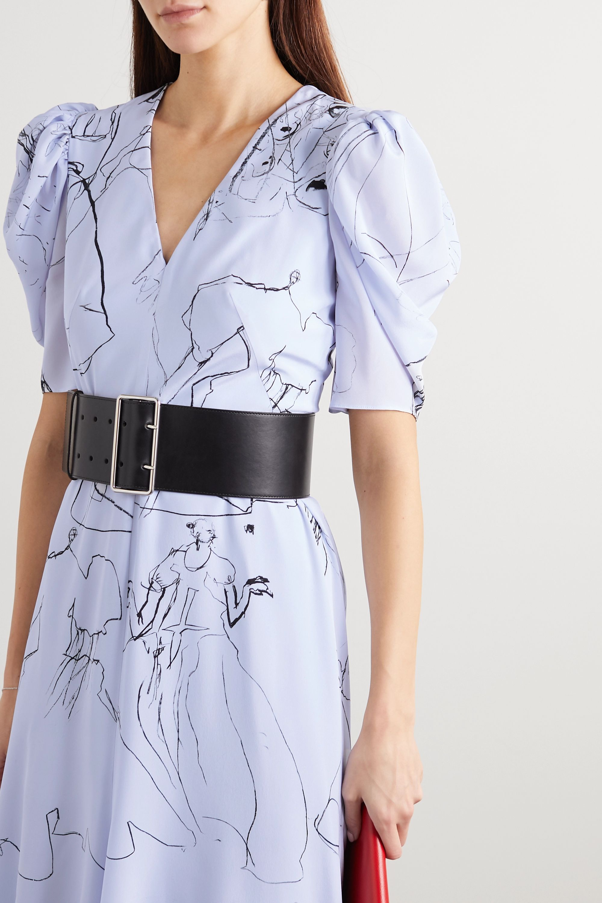 Alexander McQueen Gathered printed silk crepe de chine midi dress