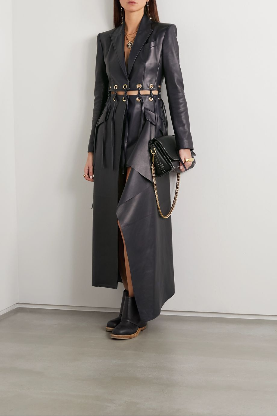 Alexander McQueen Fringed eyelet-embellished leather coat