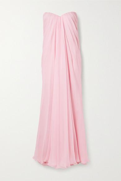 Alexander Mcqueen Strapless Draped Silk-chiffon Gown In Baby Pink