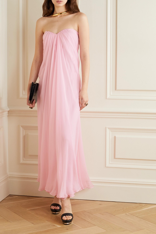 Alexander McQueen Strapless draped silk-chiffon gown