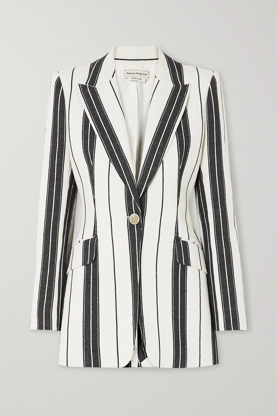 Alexander McQueen Striped linen and cotton-blend blazer