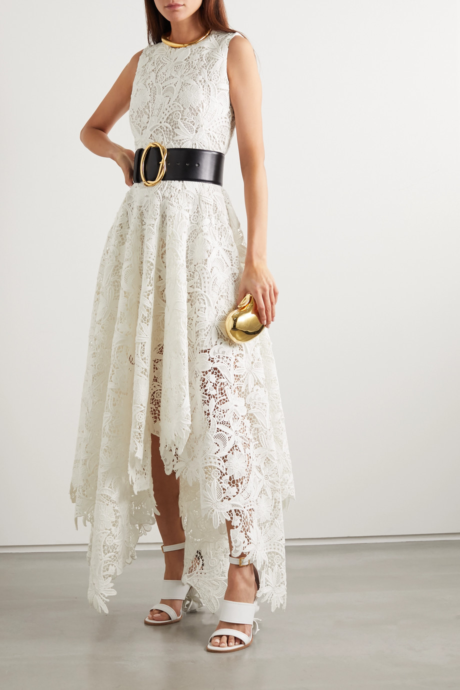 Alexander McQueen Asymmetric cotton-blend corded lace dress