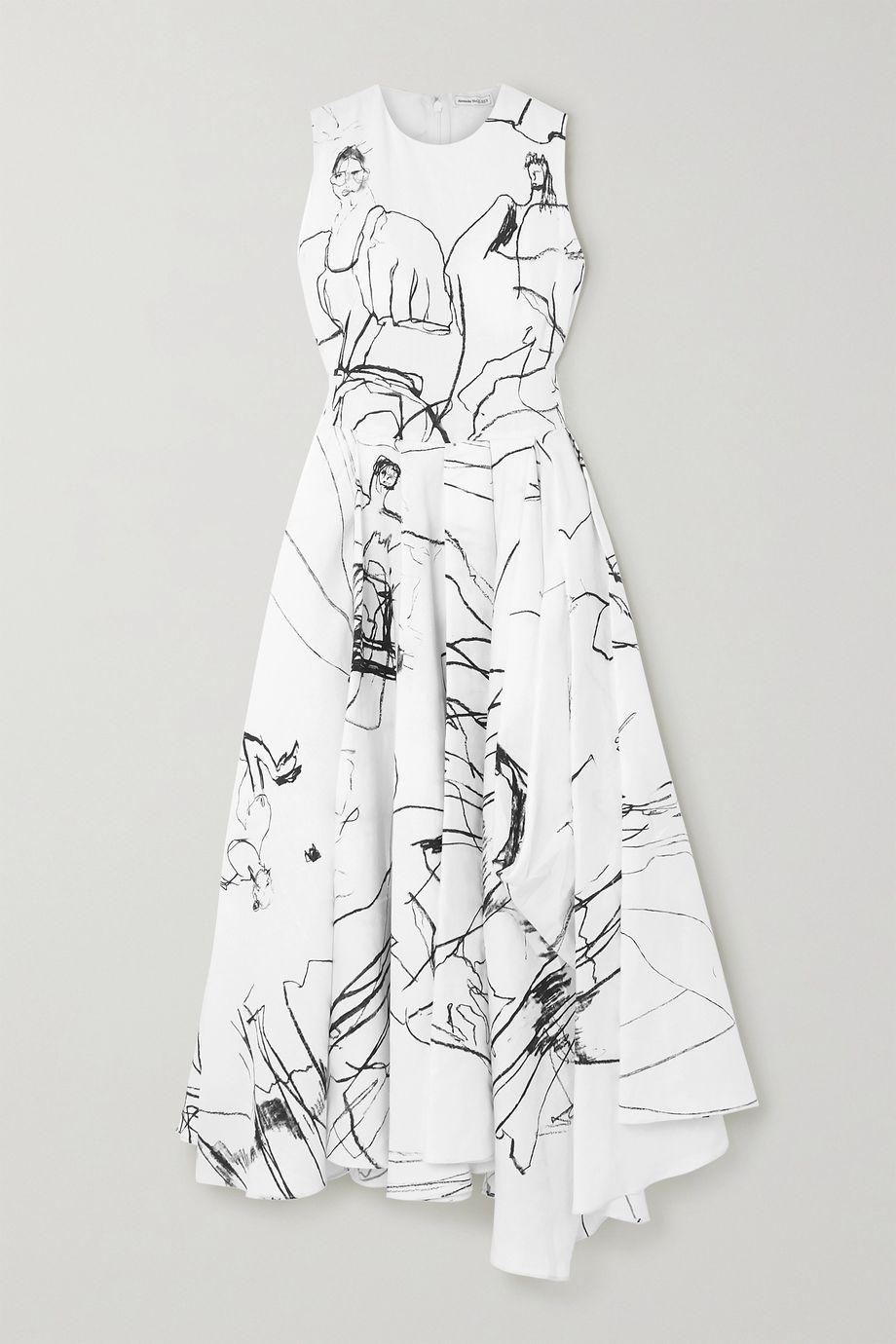 Alexander McQueen 不对称褶裥印花亚麻中长连衣裙