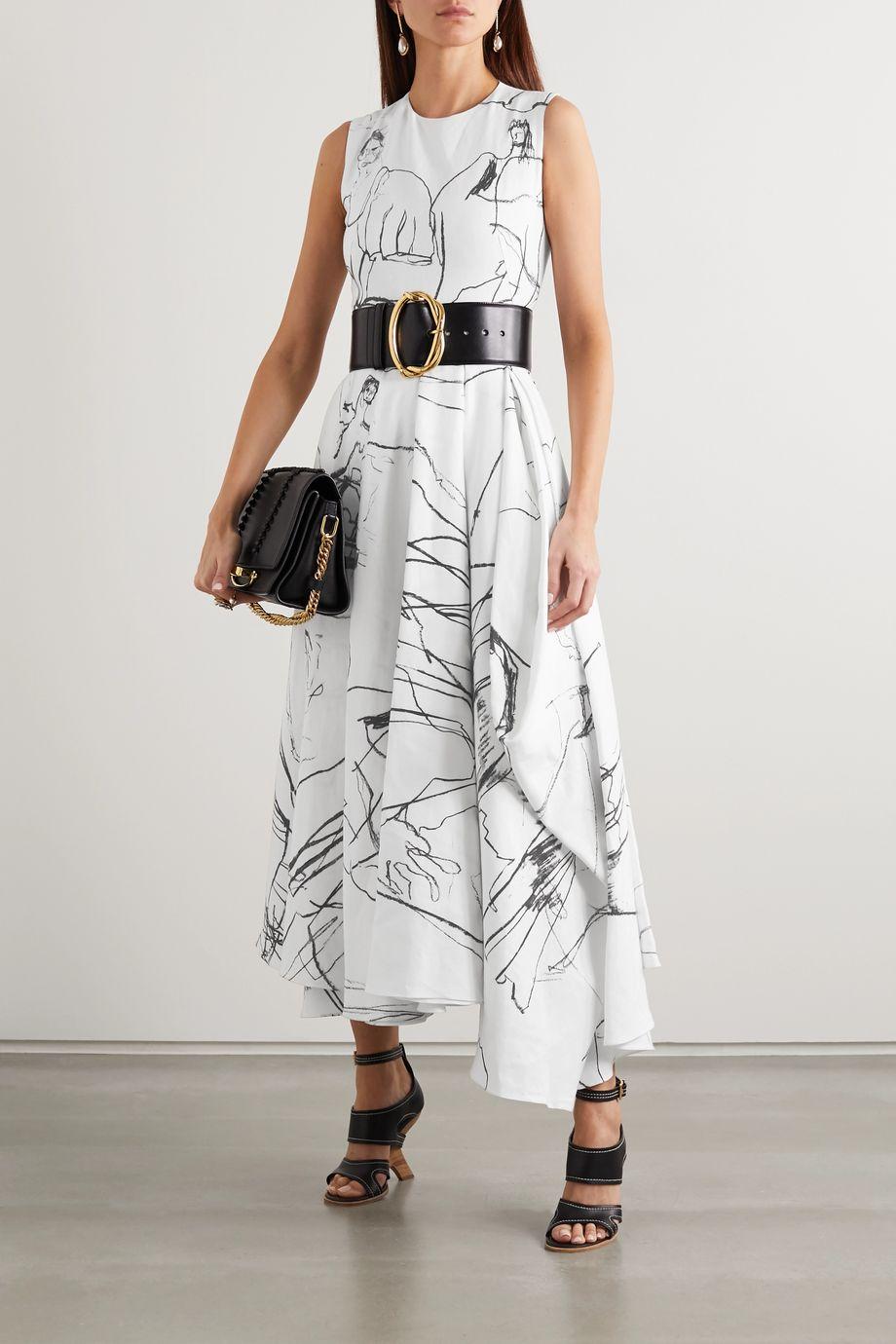 Alexander McQueen Asymmetric pleated printed linen midi dress
