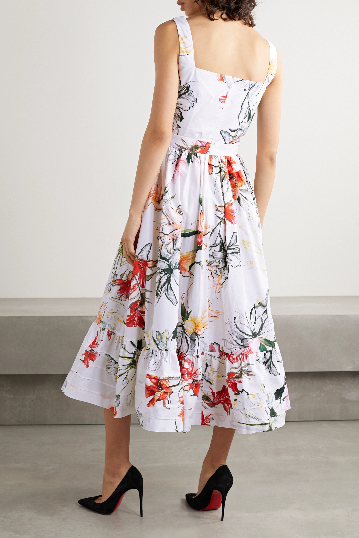 Alexander McQueen Floral-print cotton-poplin midi dress