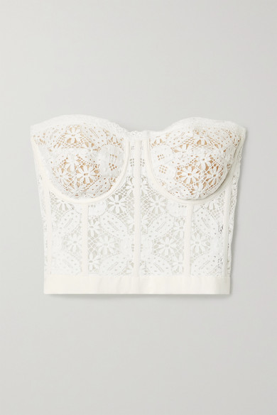 Alexander Mcqueen Cotton-blend Guipure Lace Bustier Top In White