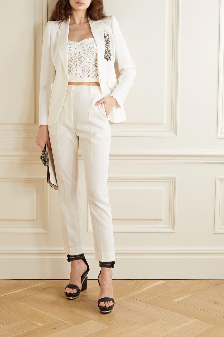 Alexander McQueen Cotton-blend guipure lace bustier top