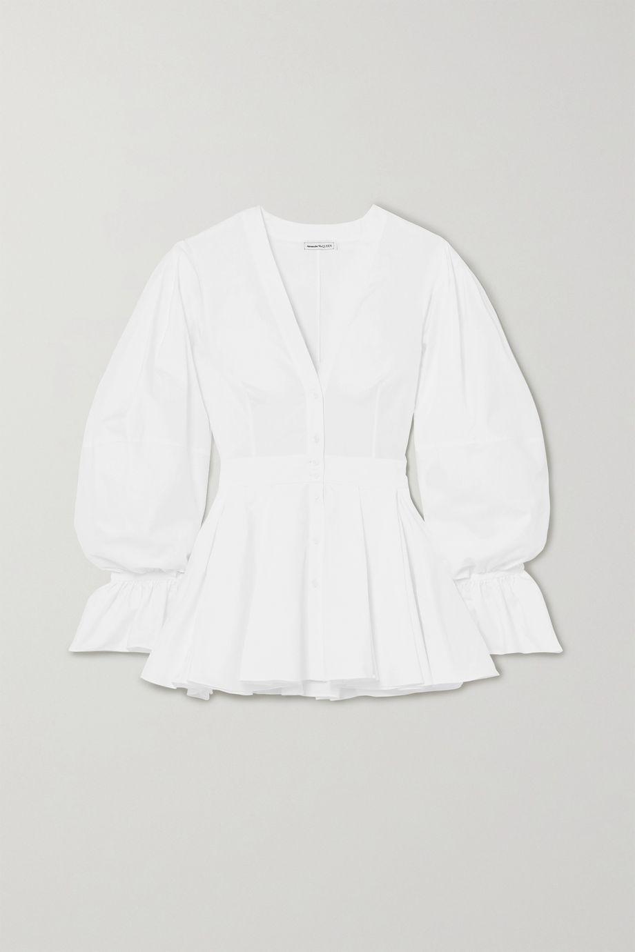 Alexander McQueen Cotton-poplin peplum blouse
