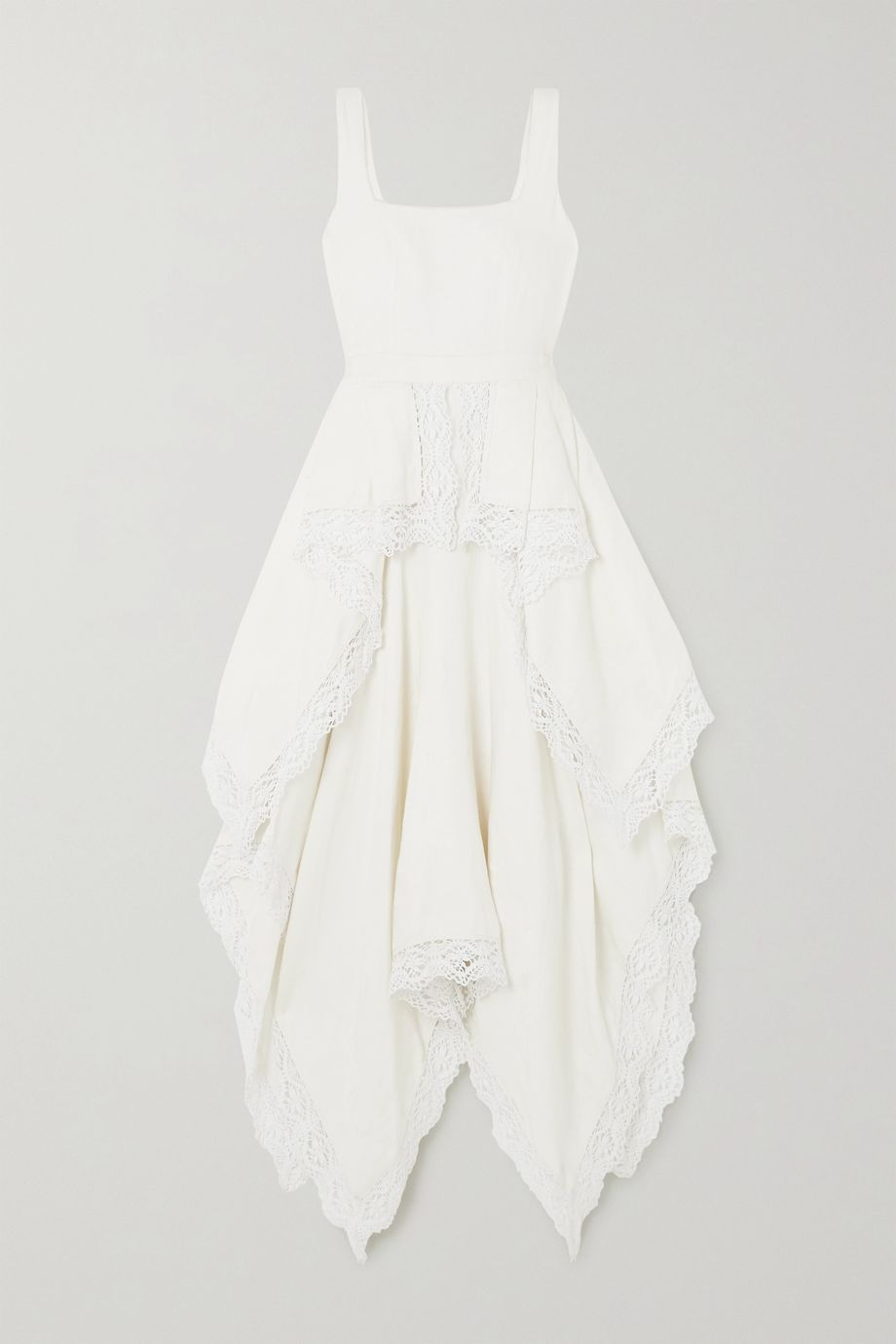 Alexander McQueen Asymmetric crocheted lace-trimmed linen floral-jacquard dress
