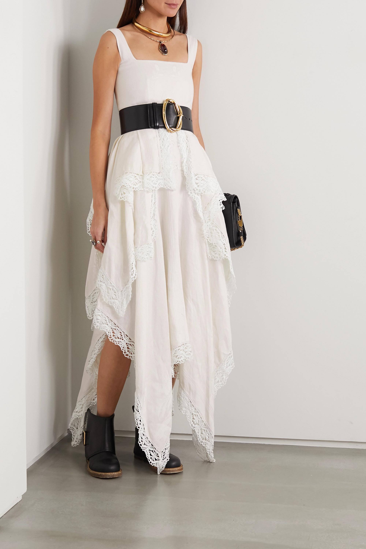Alexander McQueen Asymmetric crocheted lace-trimmed linen floral-jacquard dress