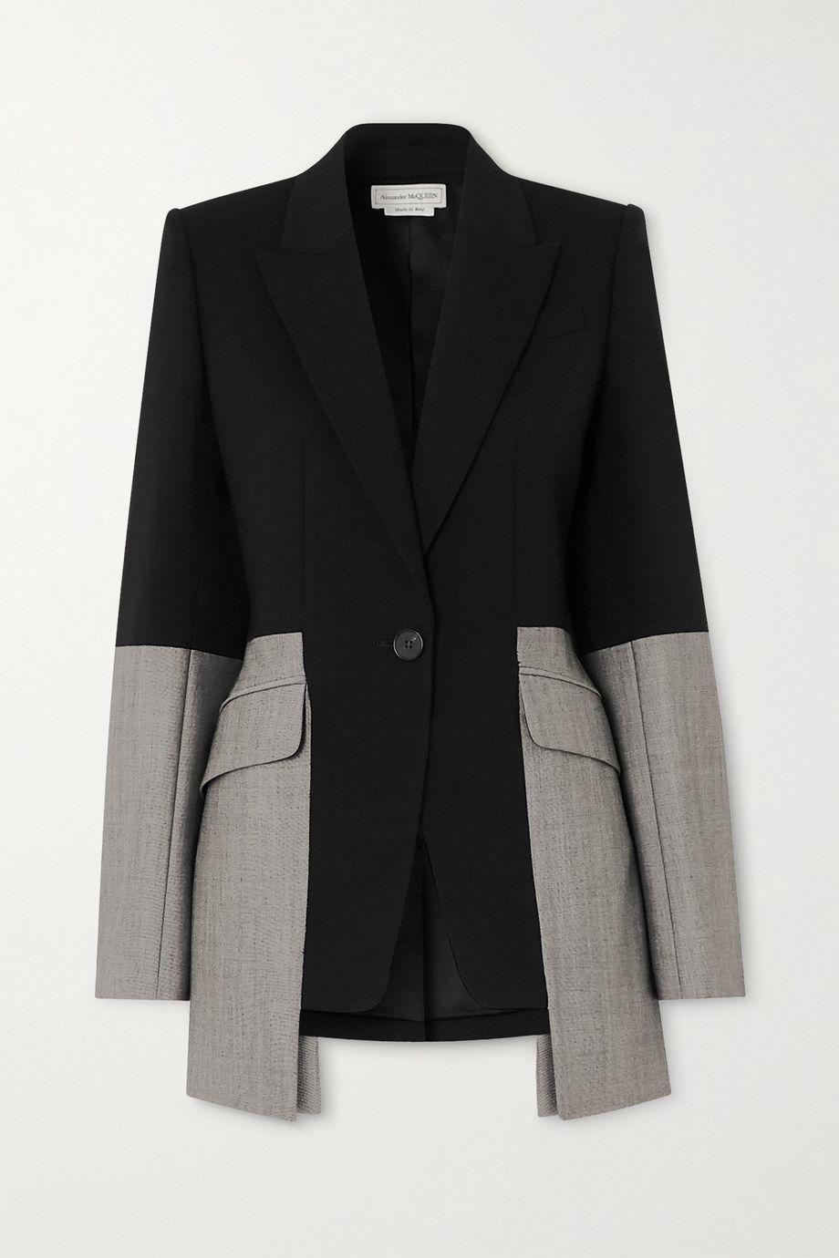Alexander McQueen Zweifarbiger Blazer aus einer Wollmischung