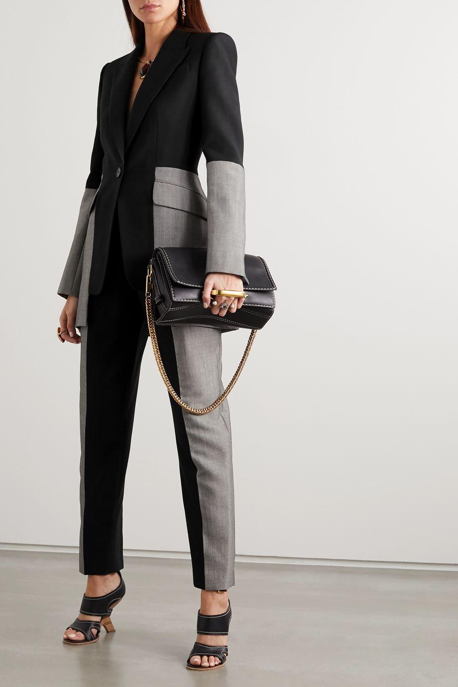 Alexander McQueen Two-tone wool-blend blazer