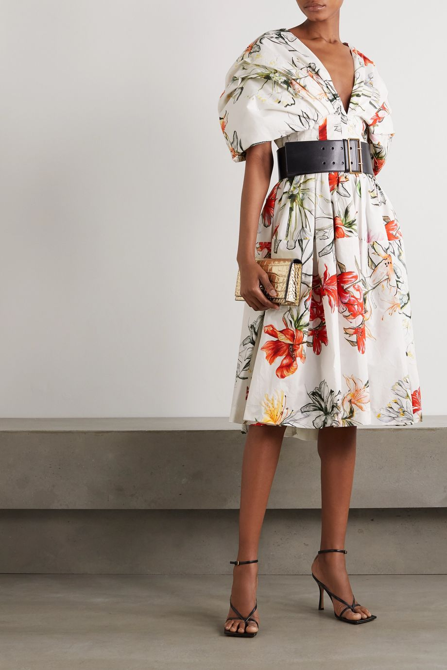 Alexander McQueen Asymmetric ruffled tiered floral-print cotton-voile dress