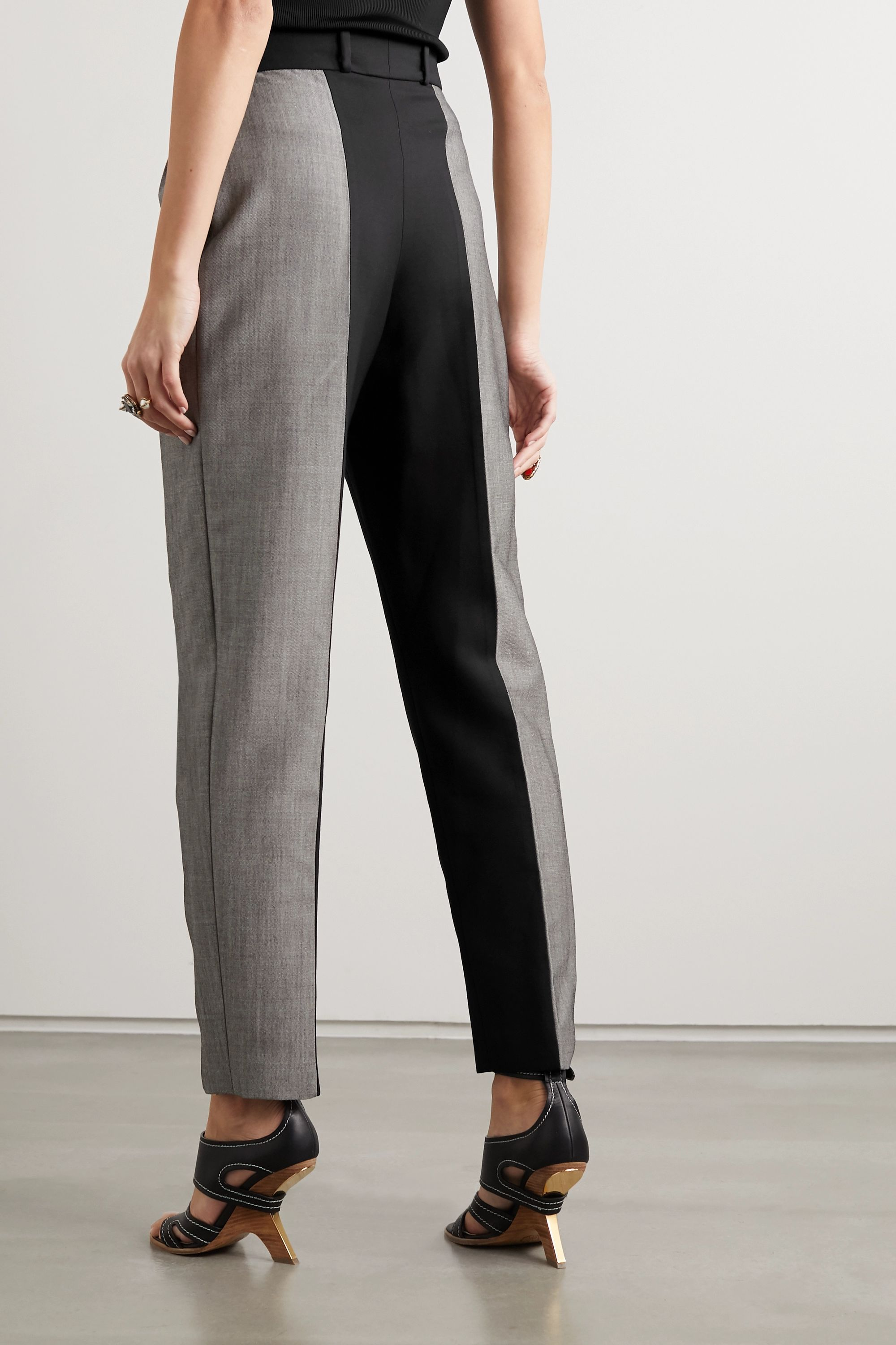 Alexander McQueen Two-tone wool and mohair-blend tapered pants