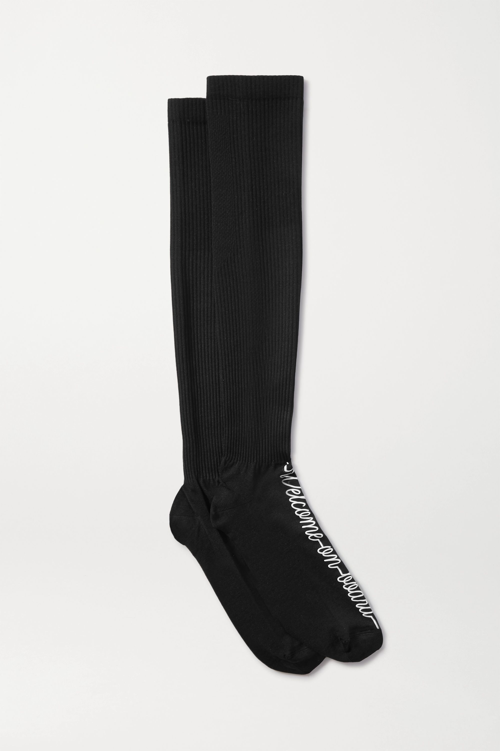 Maria La Rosa Printed ribbed-knit compression socks