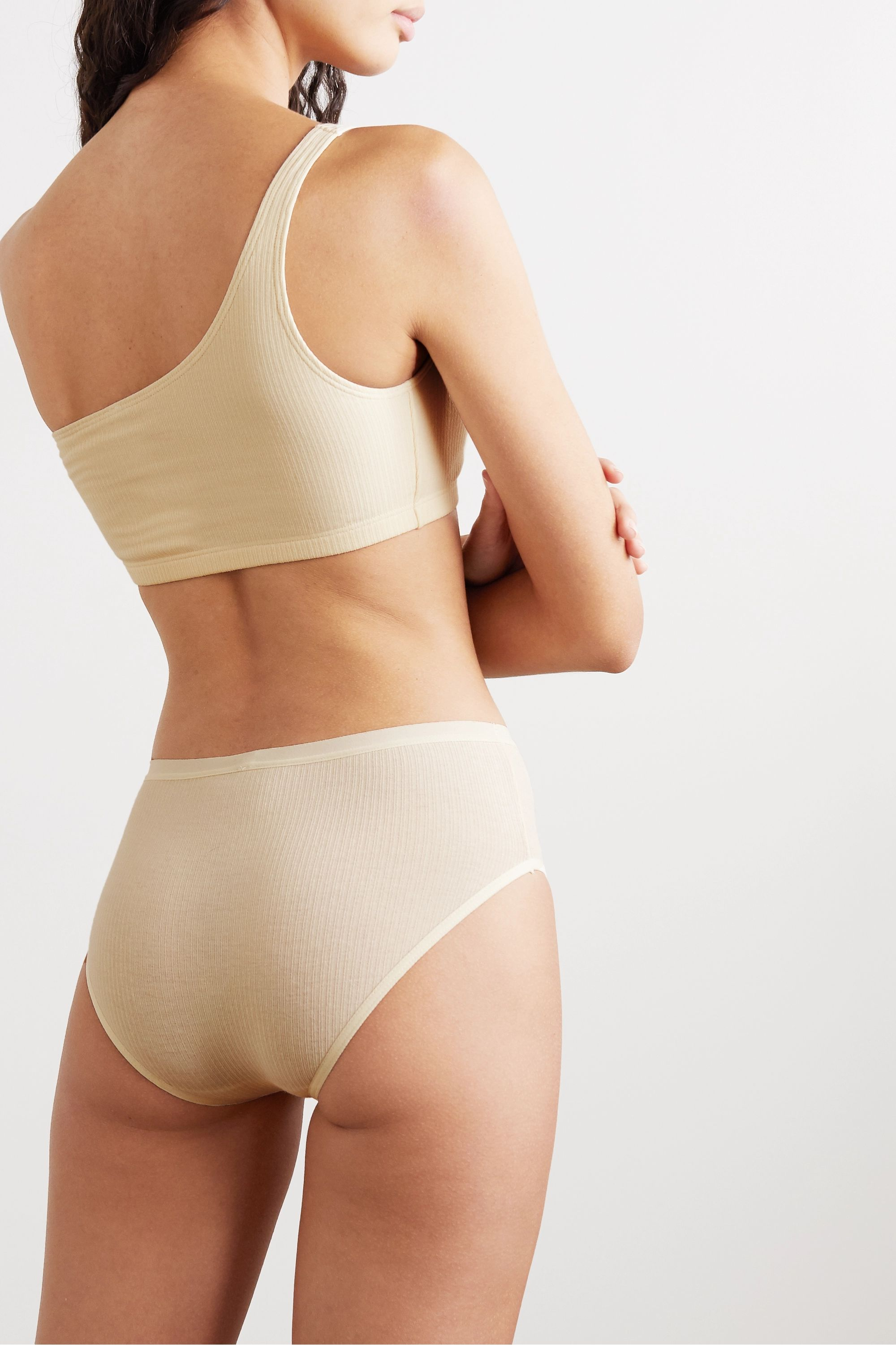 Baserange + NET SUSTAIN Una one-shoulder ribbed stretch-organic cotton soft-cup bra