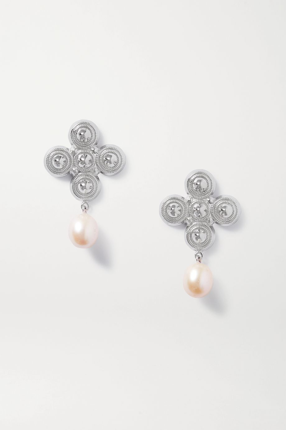 Soft Mountains Star rhodium-plated freshwater pearl earrings