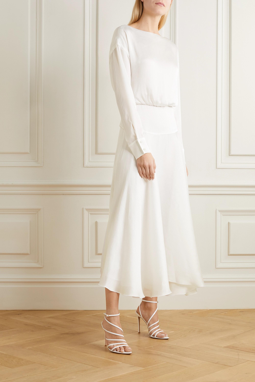 Galvan Majorelle plissé-satin midi dress