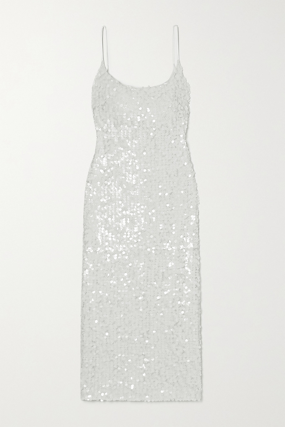 Galvan Mykonos sequined metallic tulle midi dress