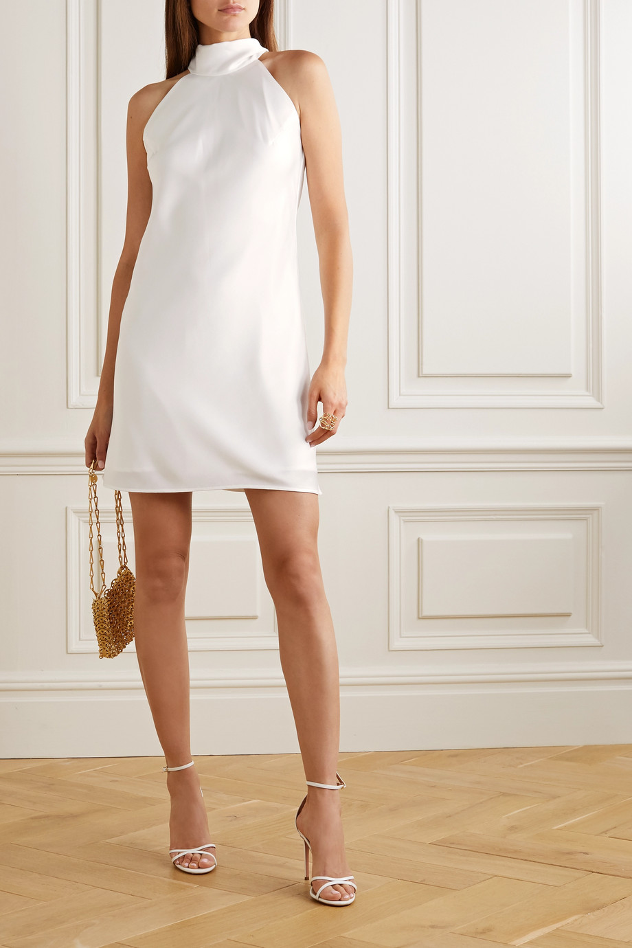 Galvan Satin halterneck mini dress