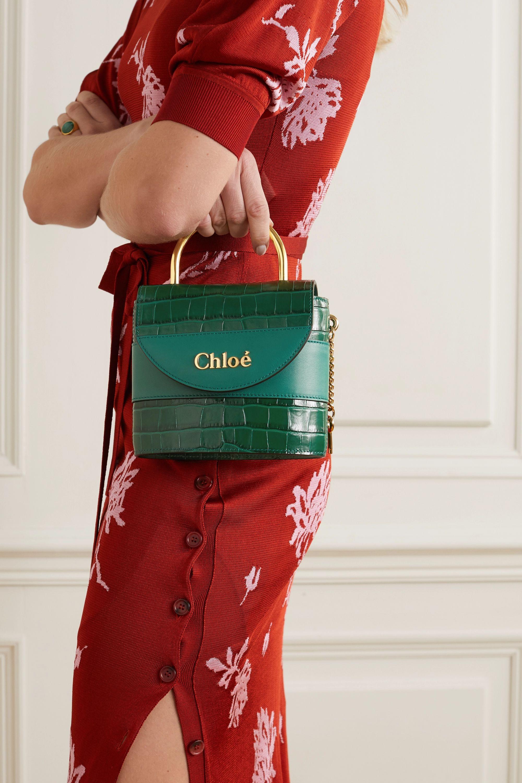Chloé Sac porté épaule en cuir effet croco Aby Lock Small