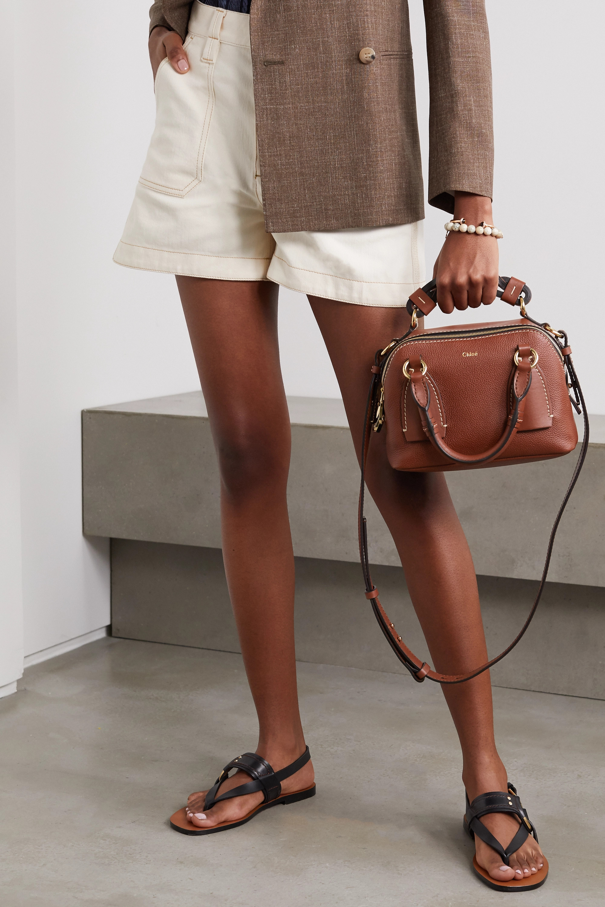Chloé Daria small textured and smooth leather tote