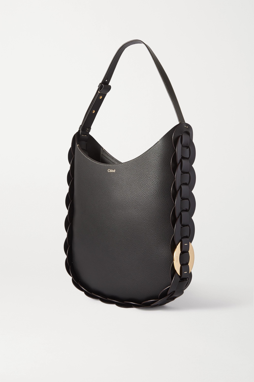 Chloé Darryl mittelgroße Schultertasche aus strukturiertem Leder mit Flechtdetails