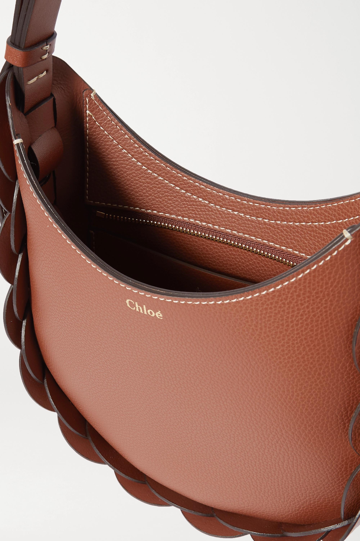 Chloé Darryl kleine Schultertasche aus strukturiertem Leder mit Flechtdetails aus Glattleder