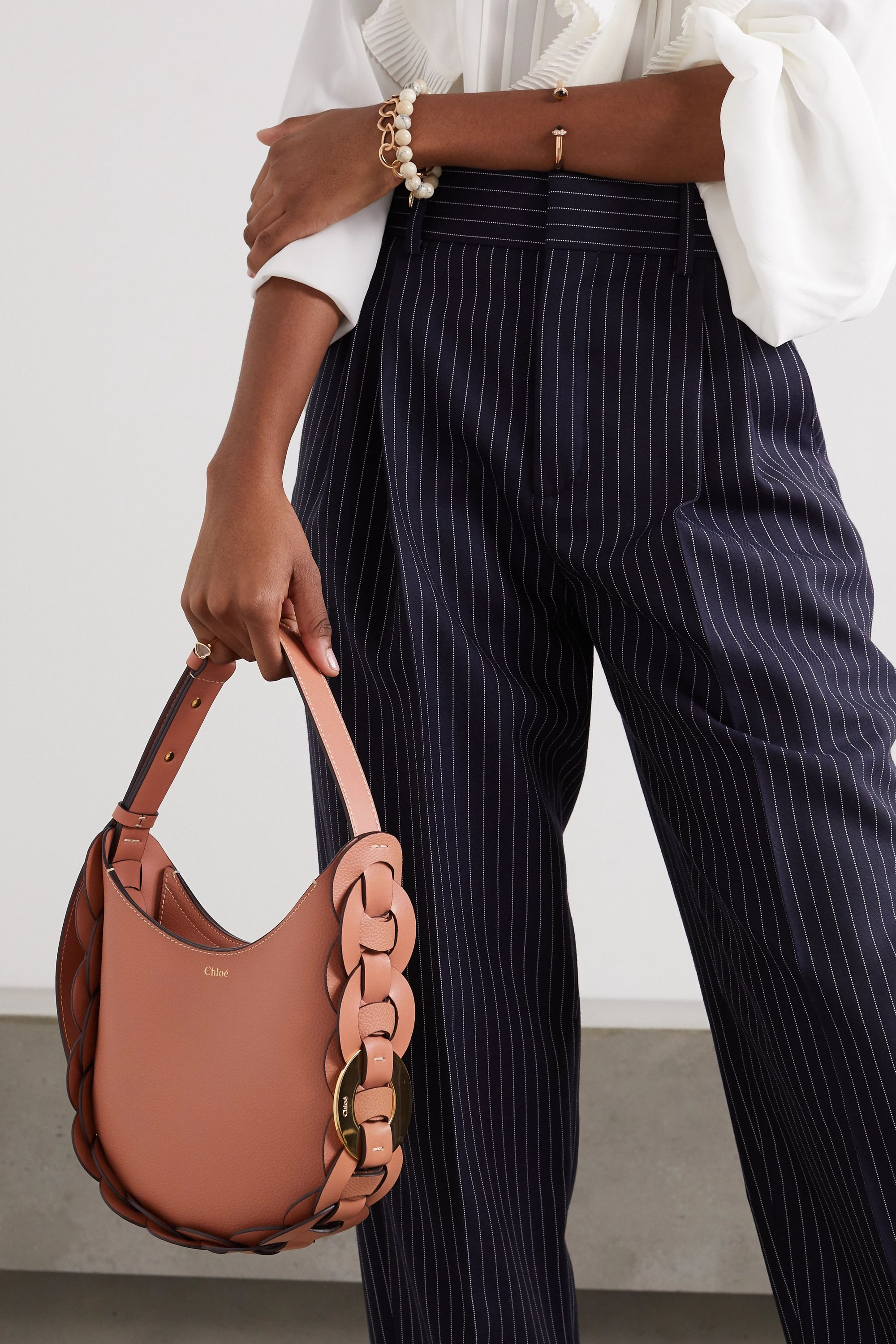 Chloé Darryl small braided textured-leather shoulder bag