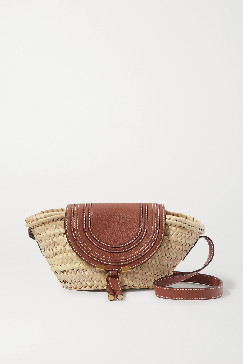 Chloé Marcie small straw and textured-leather shoulder bag
