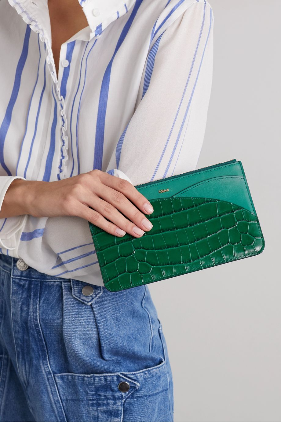 Chloé Walden smooth and glossed croc-effect leather pouch