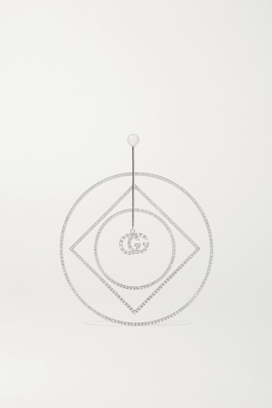 Gucci GG Running 18-karat white gold diamond earring
