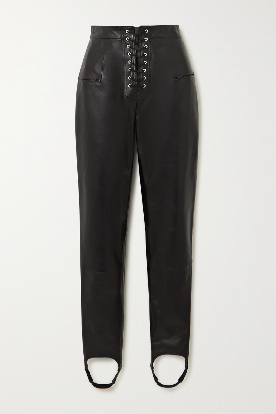 Unravel Project Lace-up leather skinny stirrup pants