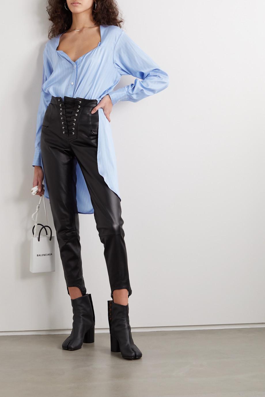Unravel Project Asymmetric striped silk-satin shirt