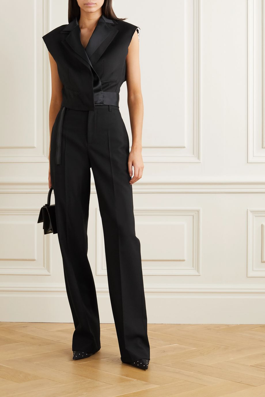 Unravel Project Cropped satin-trimmed twill blazer