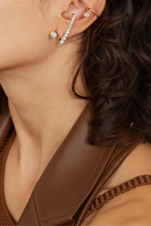 KATKIM Crescendo gold, diamond and pearl earring