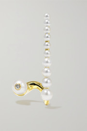 Crescendo gold, diamond and pearl earring