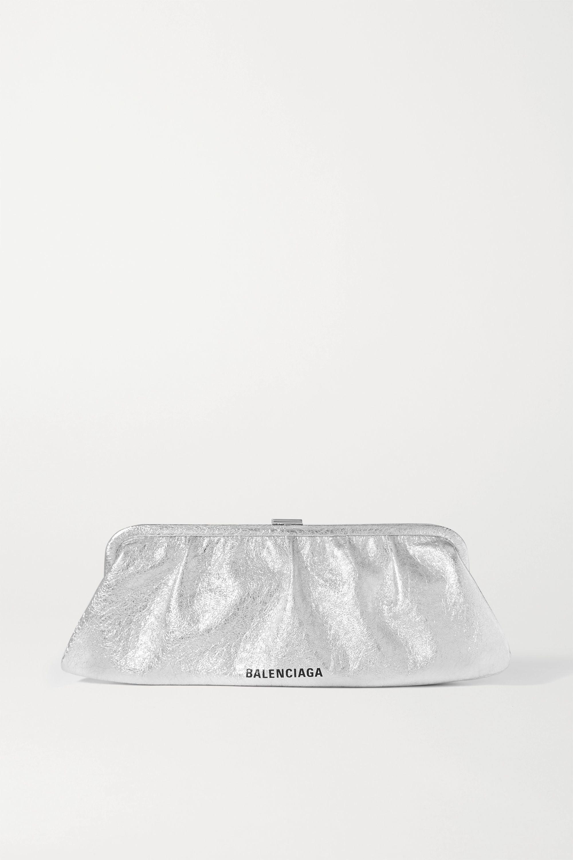 Balenciaga Cloud large logo-print metallic crinkled-leather clutch