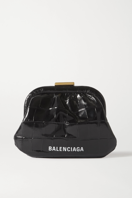 Balenciaga Cloud printed croc-effect leather pouch