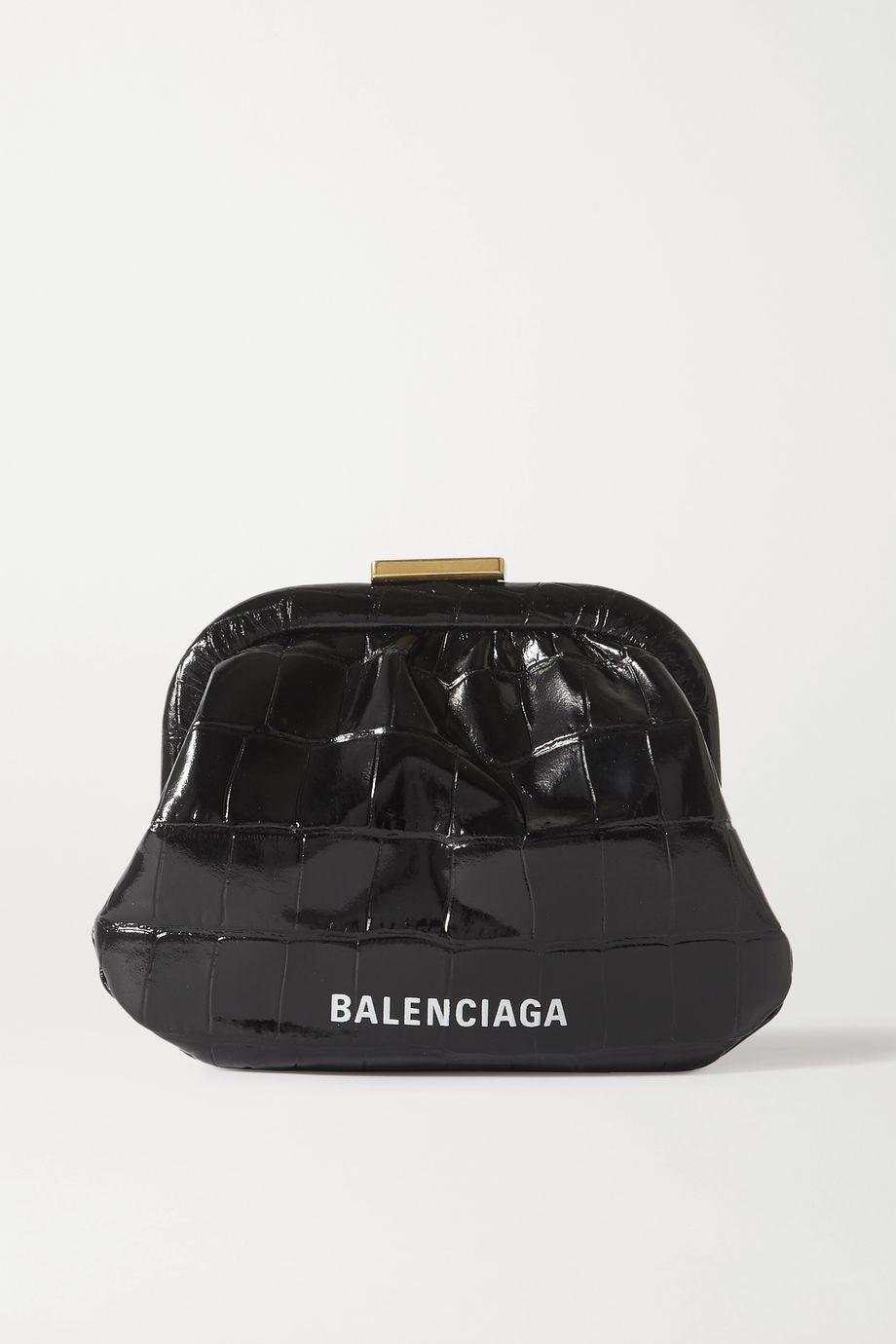 Balenciaga Pochette en cuir effet croco imprimé Cloud