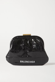 Balenciaga Cloud printed croc-effect leather pouch