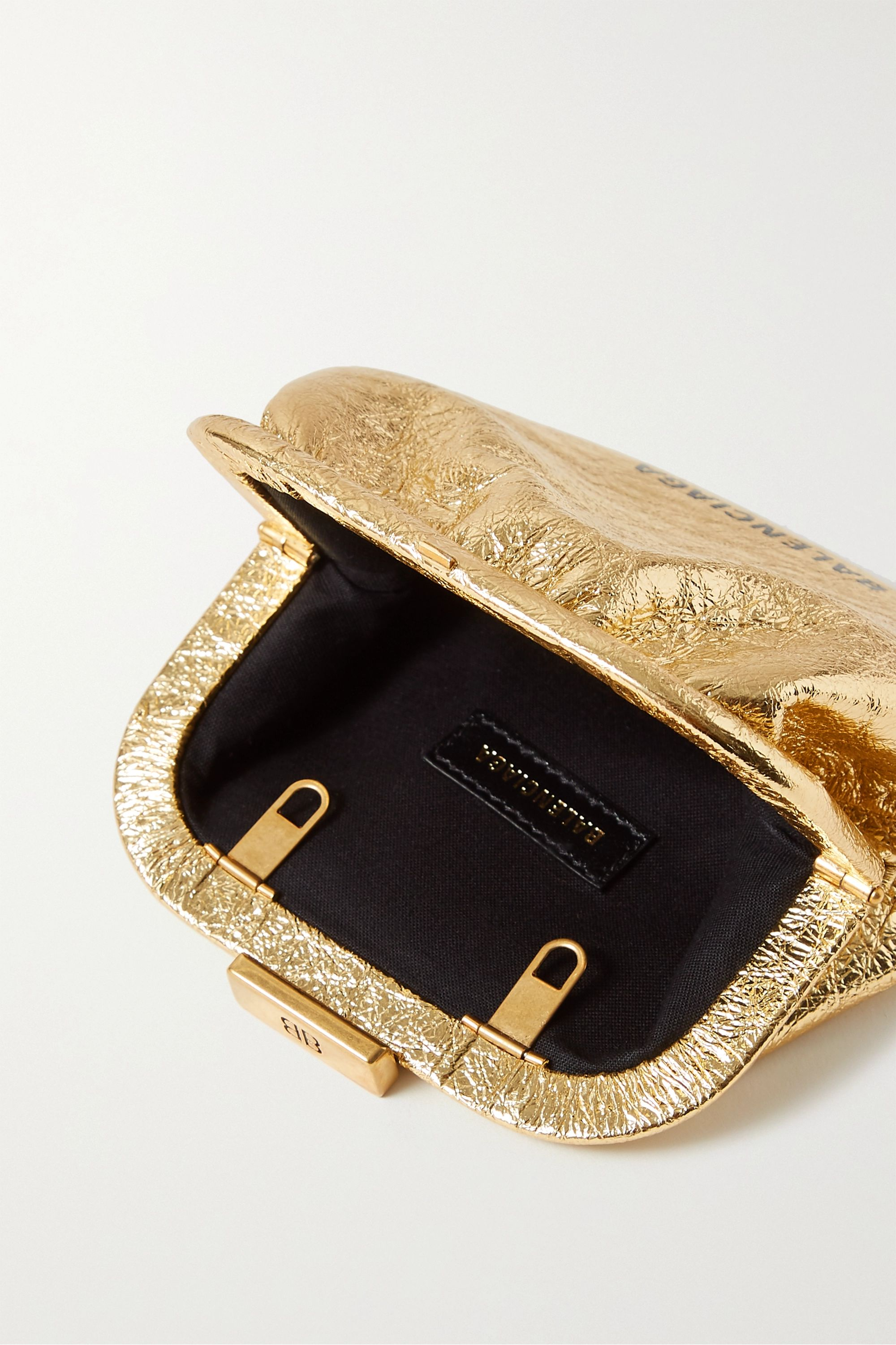 Balenciaga Cloud printed metallic crinkled-leather pouch