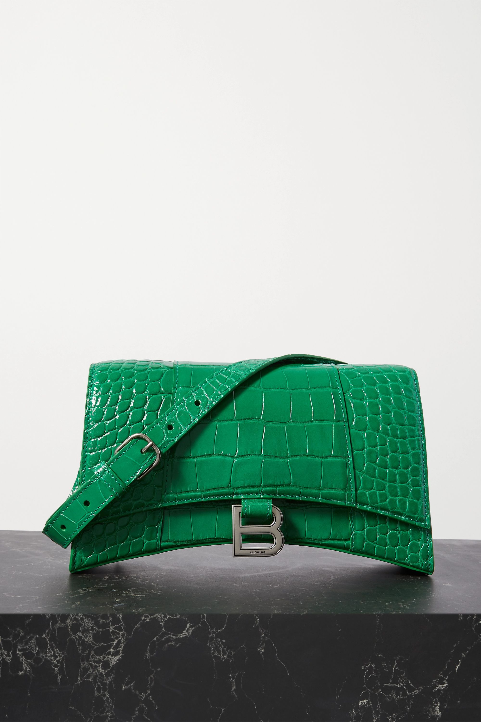 Green Hourglass croc-effect leather