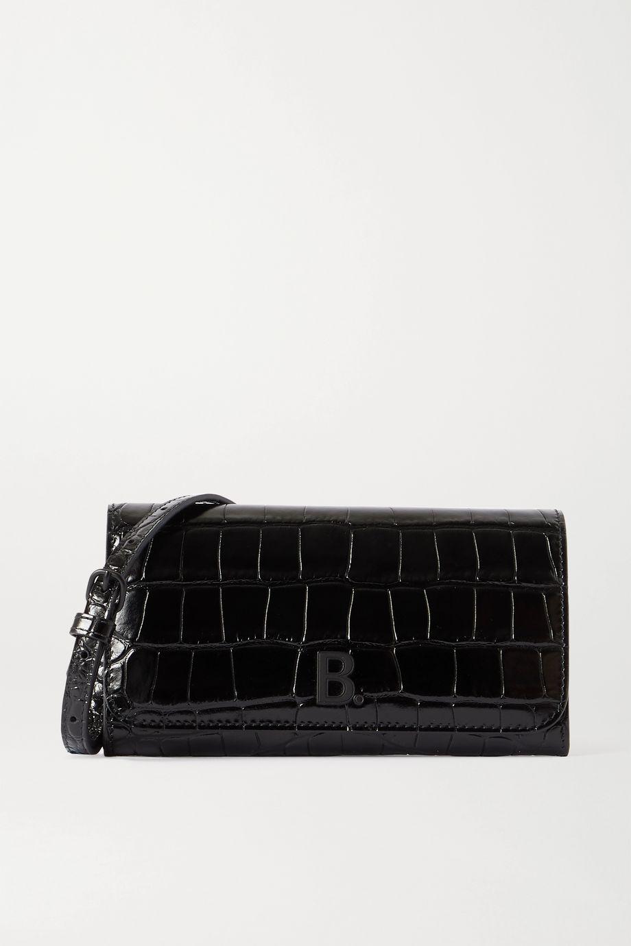 Balenciaga Touch Schultertasche aus Leder mit Krokodileffekt