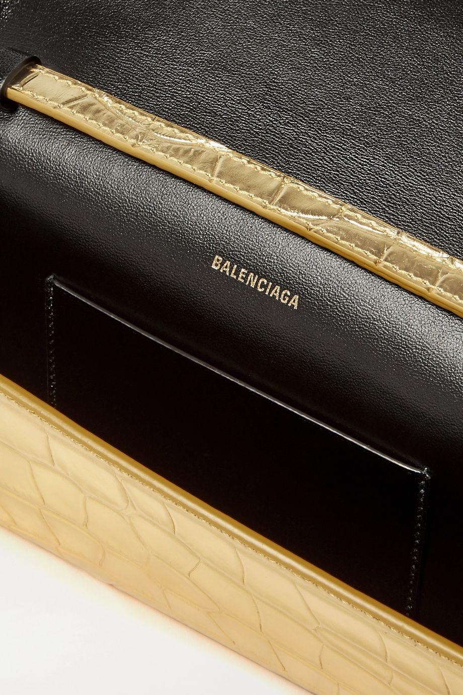 Balenciaga Sac porté épaule en cuir effet croco métallisé Touch