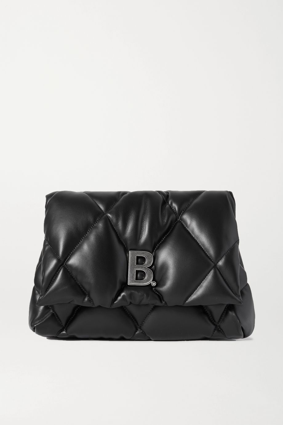 Balenciaga Touch Puffy embellished quilted leather clutch