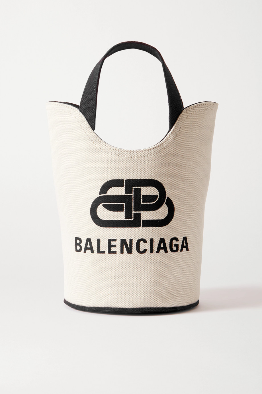 Balenciaga Wave XS leather-trimmed printed cotton-canvas tote