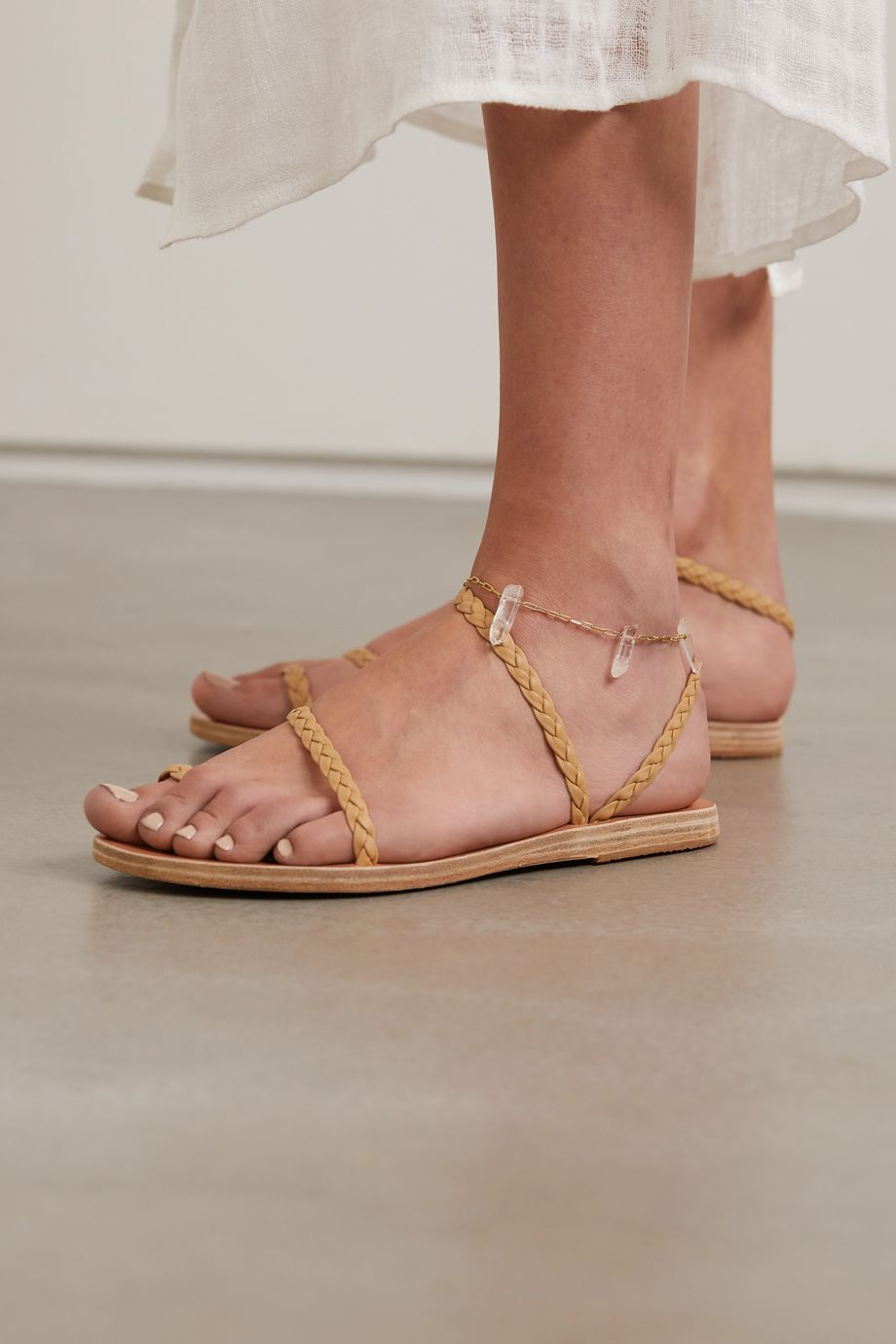 Ancient Greek Sandals 石英金色脚链